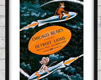 1959 Vintage Detroit Lions - Chicago Bears Football Program Cover - Digital Reproduction - Print or Matted or Framed