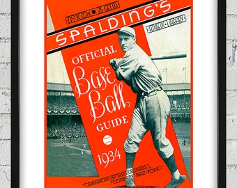 1934 Vintage Spalding's Baseball Guide Cover - Digital Reproduction - Print or Matted or Framed
