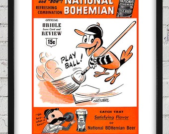 1955 Vintage Baltimore Orioles Scorebook Cover - Digital Reproduction - Print or Matted or Framed