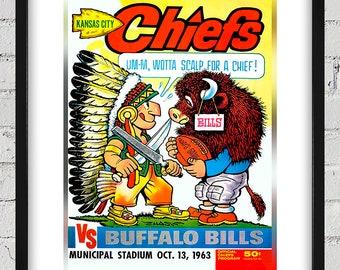 1963 Vintage Buffalo Bills - Kansas City Football Program Cover - Digital Reproduction - Print or Matted or Framed