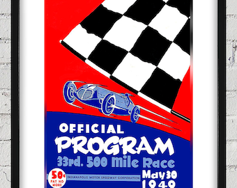 1949 Vintage Indianapolis 500 Racing Program Cover - Digital Reproduction - Print or Matted or Framed