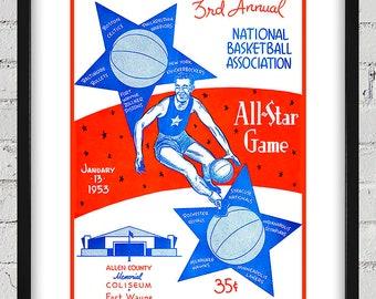 1953 Vintage All-Star Game Basketball Program Cover - Digital Reproduction - Print or Matted or Framed