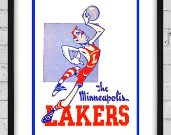 1947- 1948 Vintage Minneapolis Lakers Basketball Press Guide Cover - Digital Reproduction - Print or Matted or Framed