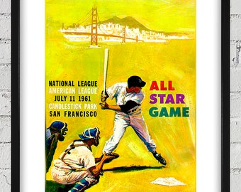 1961 Vintage All-Star Game Program Cover - Candlestick Park, San Francisco - Digital Reproduction - Print or Matted or Framed