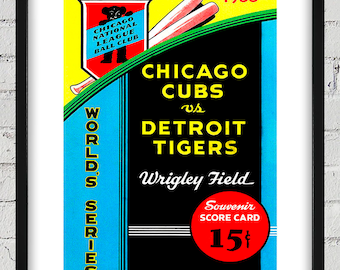 1935 Vintage Chicago Cubs - Detroit Tigers World Series Program Cover - Digital Reproduction - Print or Matted or Framed