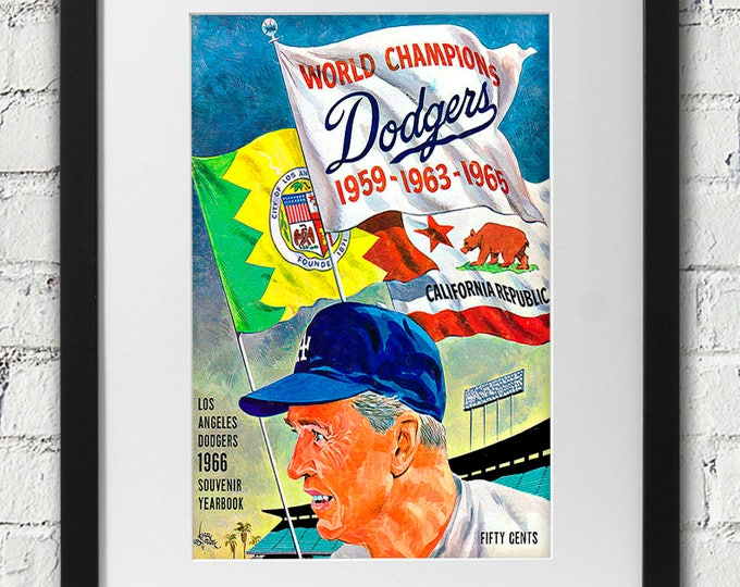Featured listing image: 1966 Vintage Los Angeles Dodgers Program Cover - Walter Alston - Digital Reproduction - Print or Matted or Framed