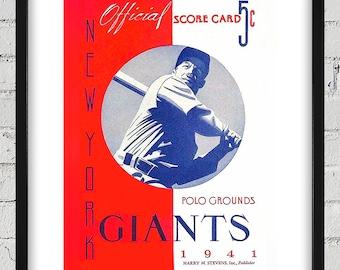 1941 Vintage New York Giants Baseball Program Cover - Digital Reproduction - Print or Matted or Framed