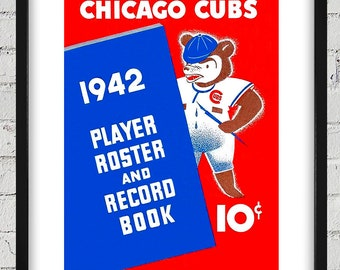 1942 Vintage Chicago Cubs Roster Cover - Digital Reproduction - Print or Matted or Framed