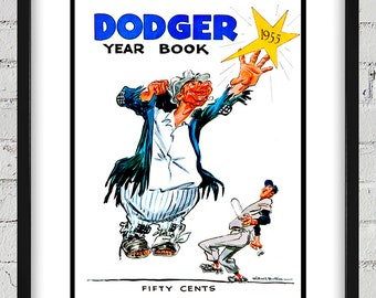 1955 Vintage Brooklyn Dodgers Yearbook Cover - Digital Reproduction - Print or Matted or Framed