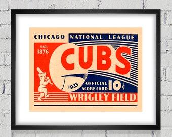 1933 Vintage Chicago Cubs Baseball - Digital Reproduction - Print or Matted or Framed
