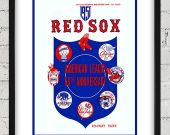 1951 Vintage Red Sox Program Cover- American League - Digital Reproduction - Print or Matted or Framed