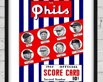 1942 Vintage Philadelphia Phillies Score Card - Managers - Digital Reproduction - Print or Matted or Framed