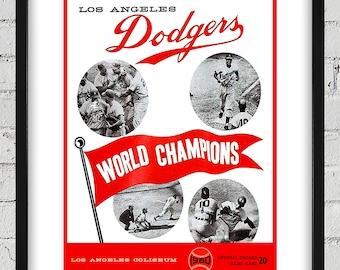 1960 Vintage Los Angeles Dodgers Program Cover - Digital Reproduction - Print or Matted or Framed