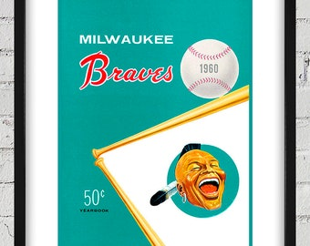 1960 Vintage Milwaukee Braves Yearbook Cover - Digital Reproduction - Print or Matted or Framed