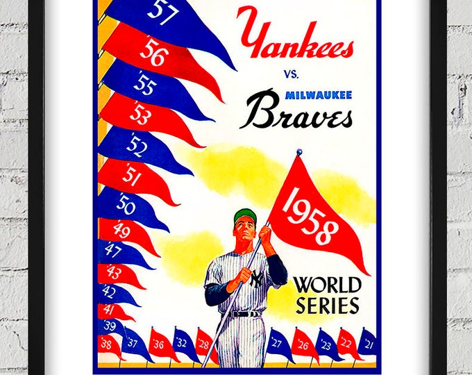 Featured listing image: 1958 Vintage Milwaukee Braves - New York Yankees World Series Program Cover - Digital Reproduction - Print or Matted or Framed