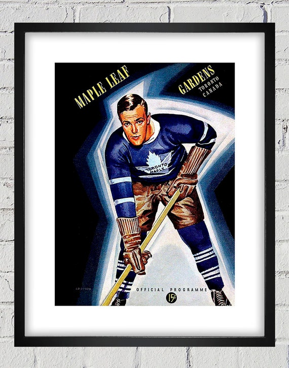 size 40 8b623 3fbd0 1940-1941 Vintage Toronto Maple Leafs Hockey Program Cover - Digital  Reproduction - Print or Matted or Framed