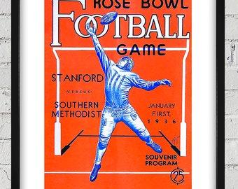 1936 Vintage Stanford - Southern Methodist Rose Bowl Program Cover - Digital Reproduction - Print or Matted or Framed