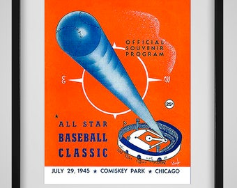1945 Vintage Chicago White Sox - Comiskey Park All-Star Game Program - Digital Reproduction - Print or Matted or Framed