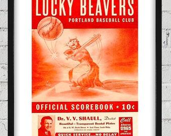1947 Vintage Portland Beavers Program Cover - Digital Reproduction - Print or Matted or Framed