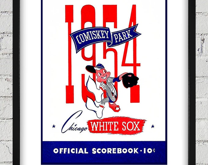 Featured listing image: 1954 Vintage Chicago White Sox Scorebook Cover - Digital Reproduction - Print or Matted or Framed