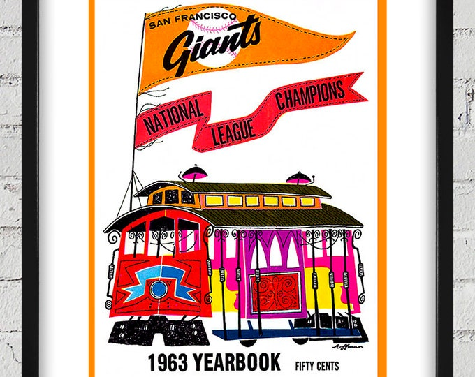 Featured listing image: 1963 Vintage San Francisco Giants Yearbook Cover - Digital Reproduction - Print or Matted or Framed