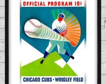 1960 Vintage Chicago Cubs Program Cover - Digital Reproduction - Print or Matted or Framed