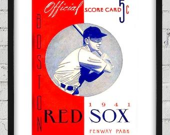1941 Vintage Red Sox Program Cover - Digital Reproduction - Print or Matted or Framed