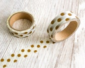 Gold Dots Washi Tape, planner supplies, gold polkadot washi tape, scrabook tape, journal planner accessories, gold foil stationery