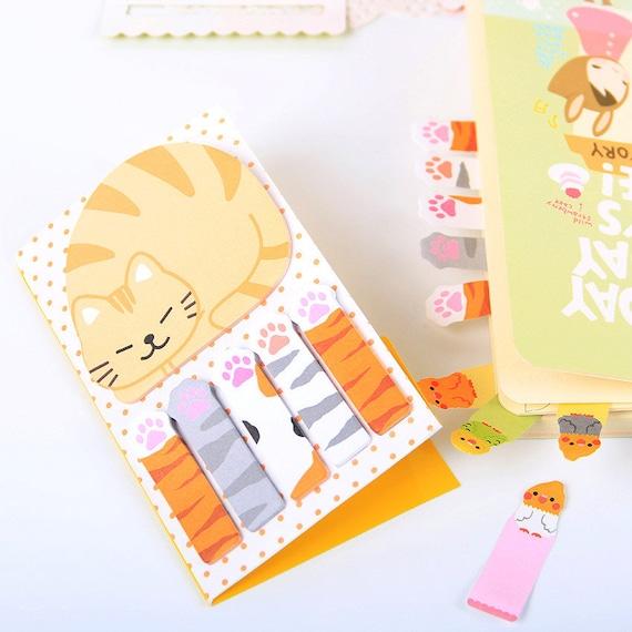 cat sticky notes kawaii cats stationery cat memo pad cute etsy