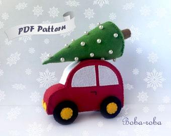 Felt christmas pattern, Sewing patterns, Felt car pattern, Christmas pattern, Christmas diy,  Christmas decoration, Felt christmas ornament