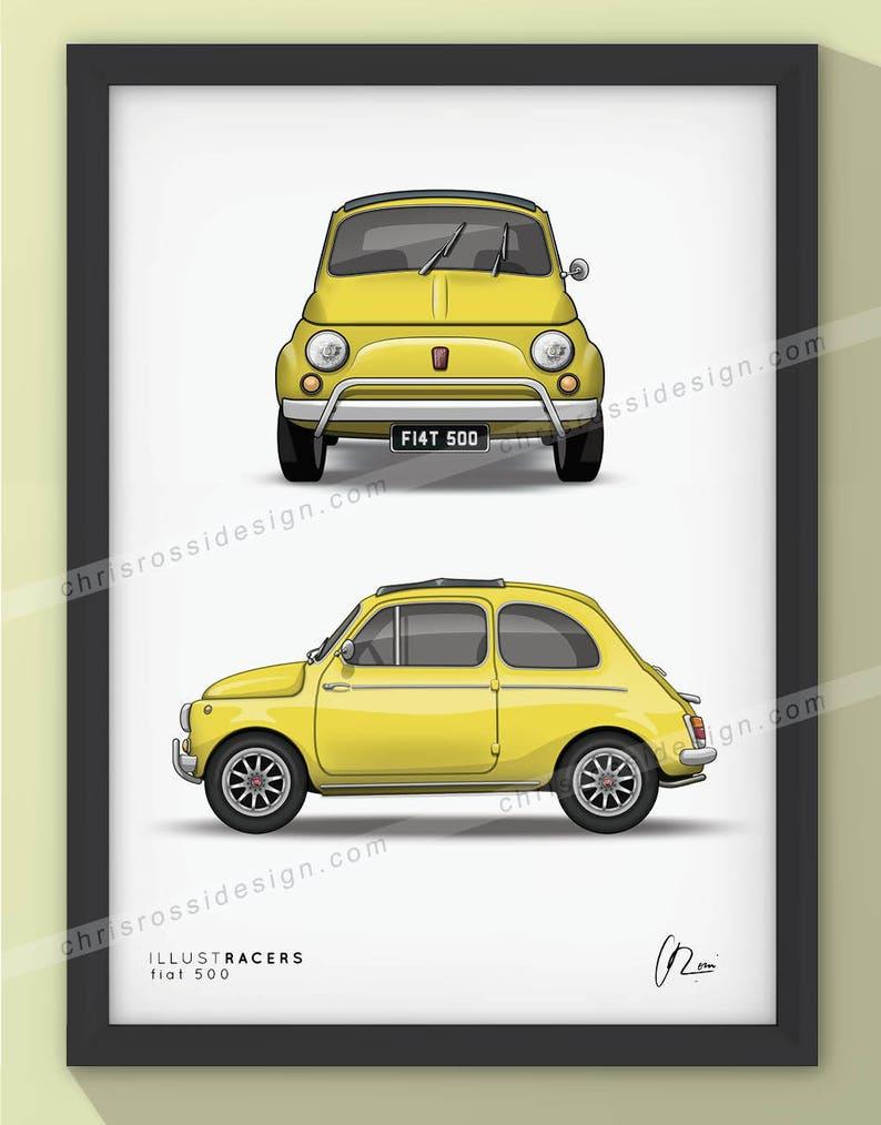 Originele Fiat 500 Afdrukken Selectie Van Kleuren