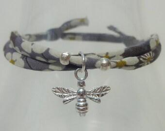 Bee jewellery, bee bracelet, bee, Liberty fabric bracelet, bumble bee jewellery