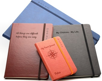 Personalised Custom Premium Hardcover Notebook   Design A Truly Unique Journal   Laser Engraved Gift (black, blue, brown, orange - A4,A5,A6)