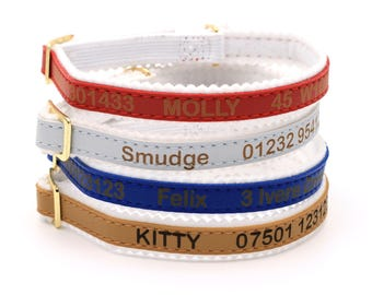 Personalised Custom Cat Kitten Collar | Design Your Unique Pet ID Tag | Laser Engraved (black, blue, red, silver, gold)