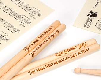 Personalised Custom Drum Sticks - 5A Size | Design A Truly Unique Gift | Laser Engraved
