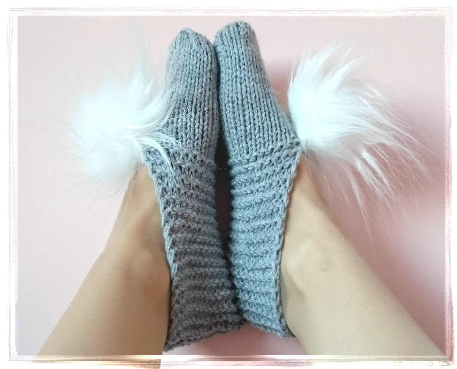 chunky knit women men slippers fuzzy pom pom slippers furry grey slipper round toe ballet flats home socks dirty santa gift wedd
