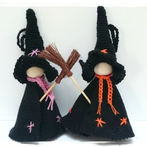 Two Little Hedgerow Witches Wooden Peg Doll Waldorf Hand Crafts
