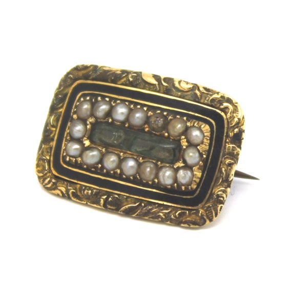 MEMENTO MORI MOURNING Brooch  Gold Pearl Victorian