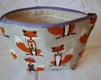 Cream foxes cosmetic bag