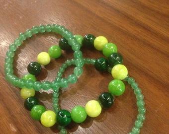 Chrysoprase & Green Aventurine Crystal Healing Bracelet Set