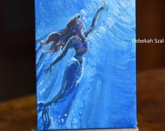 Mermaid, Ariel , the little mermaid original painting , siren, sea nymph