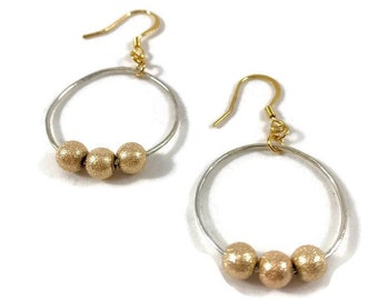 Silver and Gold Earrings - Silver and Gold Hoops - Handmade Earrings - Mixed Metals Earrings