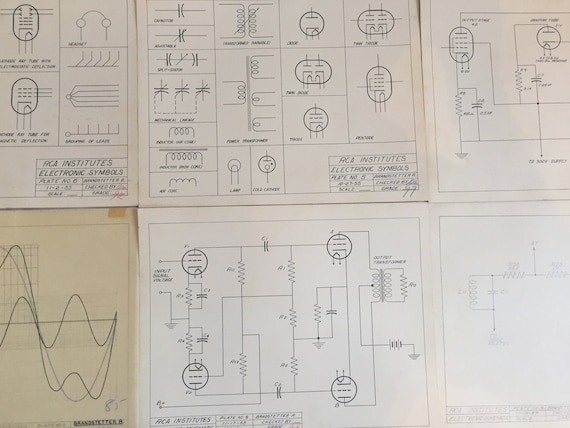 Six Vintage Student Technical Drawings Mid Century Modern Steampunk Rca Institutes 1955