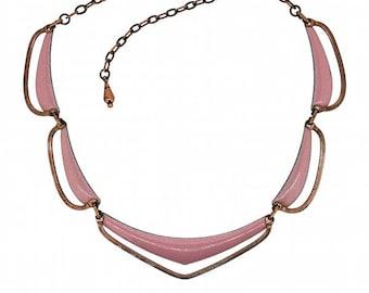 Matisse 1950s Pink Enamel and Copper Vintage Necklace