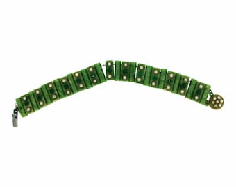 1930s Green Celluloid and Rhinestone Vintage Bracelet