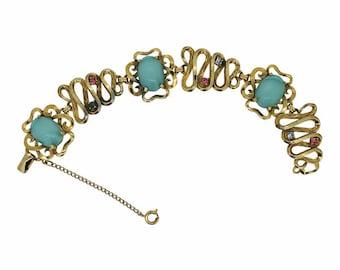 Schiaparelli 1950s Vintage Turquoise Glass Bracelet