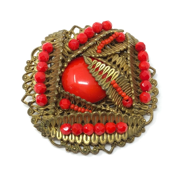 Miriam Haskell 1950s Red Glass Cabochon Vintage Br