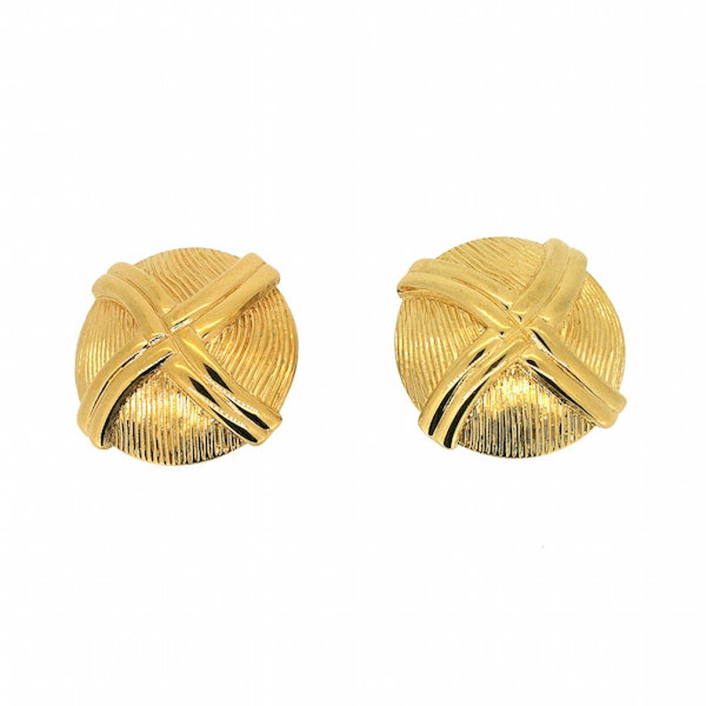 Monet 1980s Gold Plated Vintage Dome Earrings
