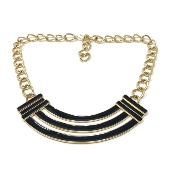 1980s Gilt and Black Enamel Power Dressing Collar Necklace