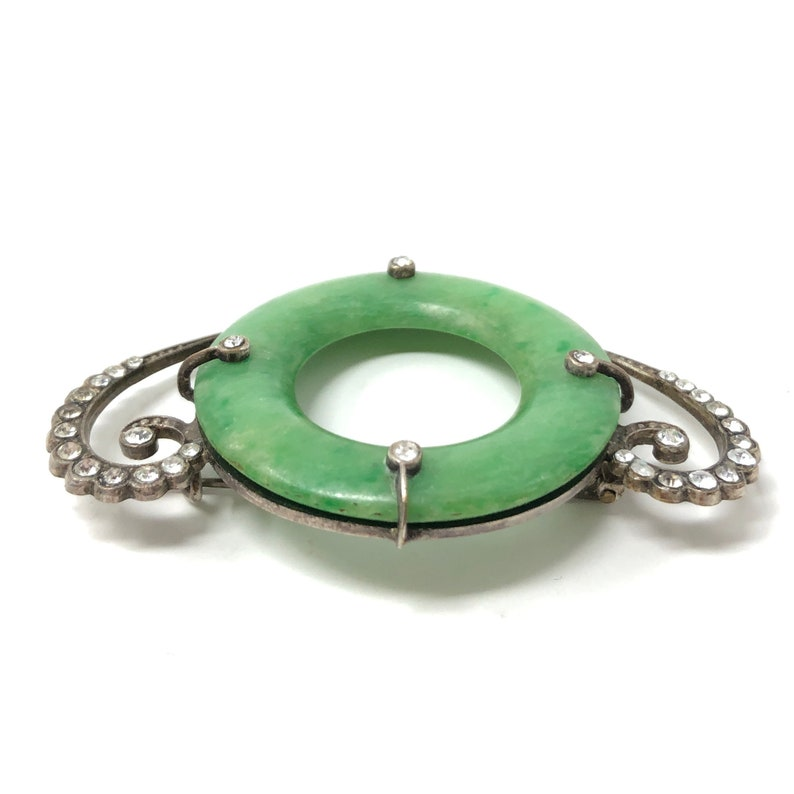 c.1900 Art Nouveau Green Galalith and Paste Antique Brooch